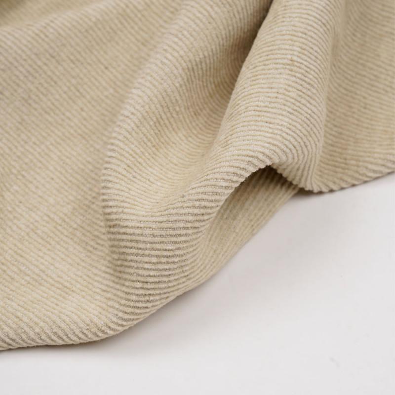 Tissu velours côtelé coton et lin beige - pretty mercerie