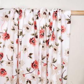 Tissu coton blanc à motif jolie fleur corail et beige - pretty mercerie - mercerie en ligne
