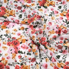 Tissu viscose blanc à motif bouquet de fleurs rose et jaune x 10 CM