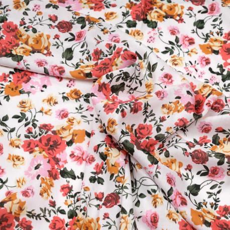 Tissu viscose blanc à motif bouquet de fleurs rose et jaune - pretty mercerie - mercerie en ligne