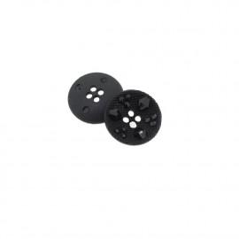 Black round rhinestone effect button