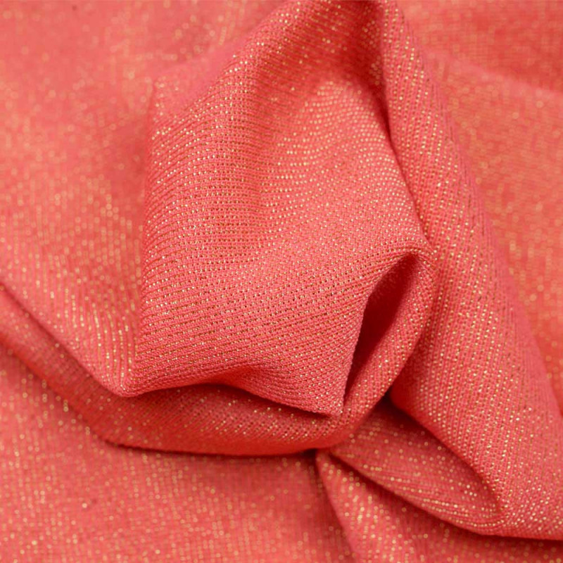 Tissu maillot de bain hot corail fil lurex or - pretty mercerie - mercerie en ligne
