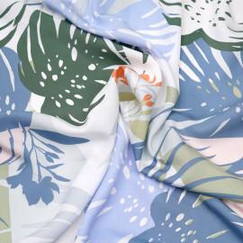 Tissu coton sergé blanc à motif fleur et feuille exotiques pastel x 10cm