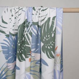 Tissu coton sergé blanc à motif fleur et feuille exotiques pastel - Pretty mercerie - mercerie en ligne