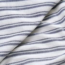 Tissu lin et coton blanc cassé tissé et rayé bleu et rose x 10CM