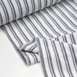 Tissu lin et coton blanc cassé tissé et rayé bleu et rose - pretty mercerie - mercerie en ligne
