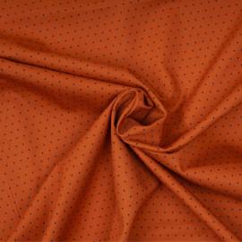 Tissu coton sergé caramel à motif petit pois noir x 10cm