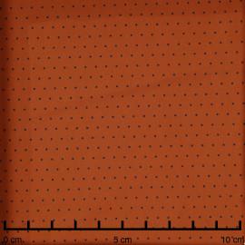 Tissu coton sergé caramel à motif petit pois noir - pretty mercerie - mercerie en ligne