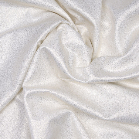 Tissu maillot de bain blanc cassé à paillettes or - pretty mercerie - mercerie en ligne