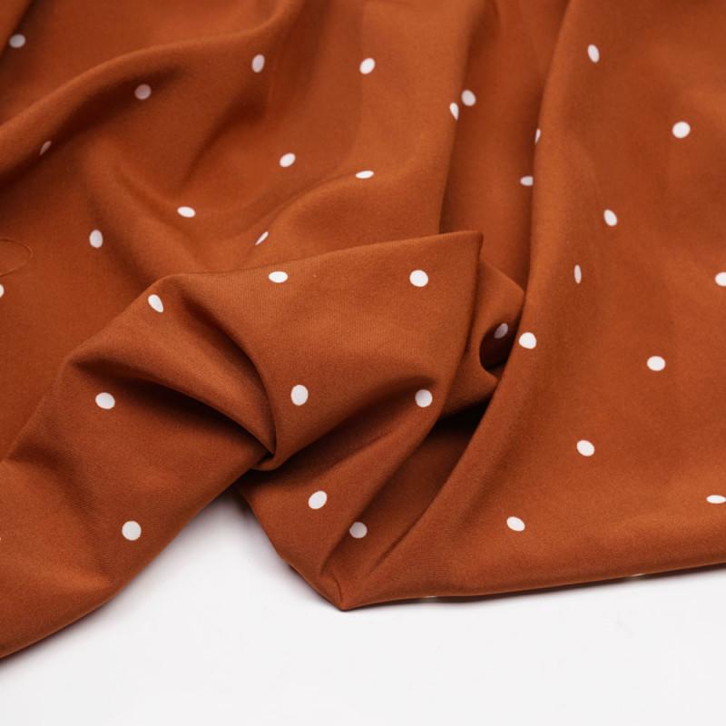 Tissu orange rust à pois blanc - pretty mercerie - mercerie en ligne