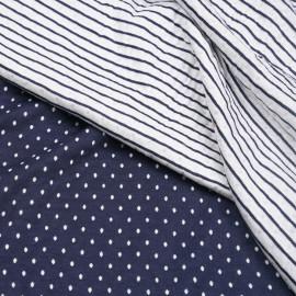 Tissu matelassé bleu marine à pois tissé blanc cassé x 10cm