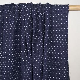 Tissu matelassé bleu marine à pois tissé blanc cassé - Pretty mercerie - mercerie en ligne