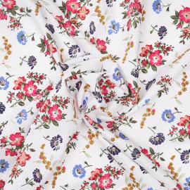 Tissu coton blanc cassé à motif fleurs des champs bleu, fuchsia x 10cm