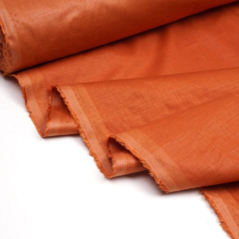 Tissu lin, tencel et viscose orange mecque - pretty mercerie - mercerie en ligne