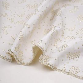 Tissu jacquard crème tissé dandelion or - pretty mercerie - mercerie en ligne