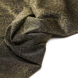 Tissu maillot de bain noir fil lurex or x 10cm