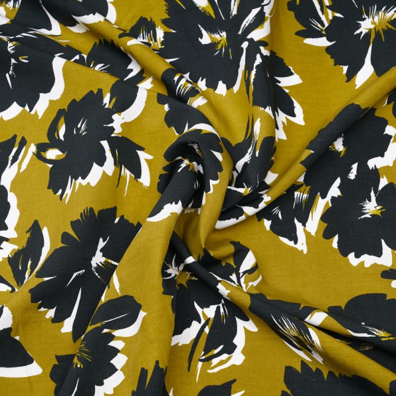 Tissu lin et viscose antique moss à motif fleuri vert foncé et blanc - pretty mercerie - mercerie en ligne