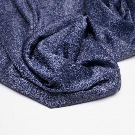 Tissu maillot de bain bleu nuit fil lurex argent  x 10cm