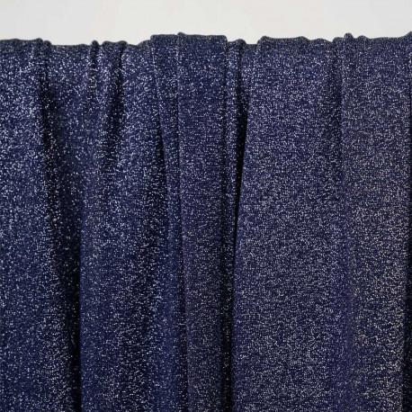 Tissu maillot de bain bleu nuit fil lurex argent - pretty mercerie - mercerie en ligne