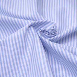 Tissu oxford blanc à rayures bleu ciel  x 10cm