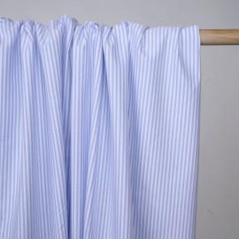 Tissu oxford blanc à rayures bleu ciel  - pretty mercerie - mercerie en ligne