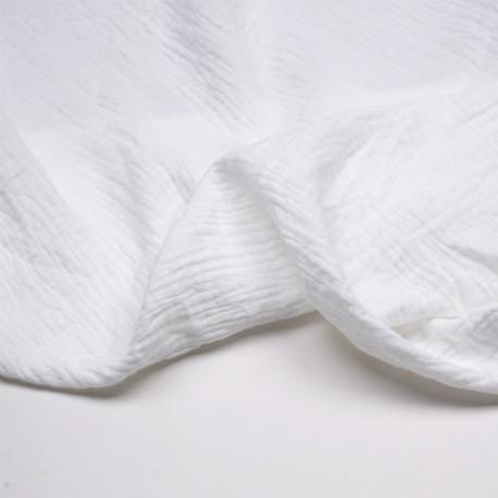 tissu double gaze de coton blanc cassé - pretty mercerie - mercerie en ligne