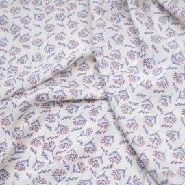 Tissu viscose blanc cassé à motif dandelion bleu et rouge x 10 CM