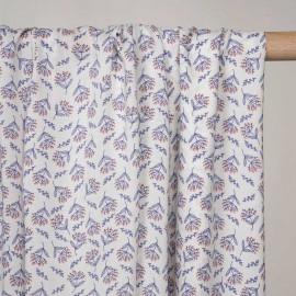 Tissu viscose blanc cassé à motif dandelion bleu et rouge - pretty mercerie - mercerie en ligne