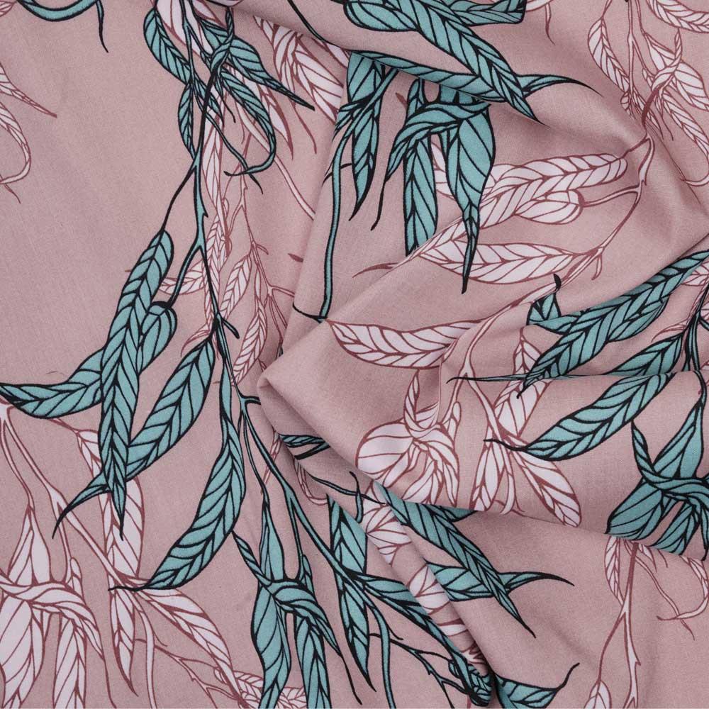 Tissu viscose vieux rose à motif feuille tropical vert et rose pastel - Pretty Mercerie - mercerie en ligne