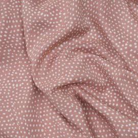 Tissu viscose vieux rose à motif pois irrégulier blanc x 10 CM