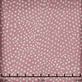Tissu viscose vieux rose à motif pois irrégulier blanc - Pretty Mercerie - mercerie en ligne