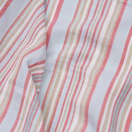 Tissu coton et lin rayé rouge, bleu ciel et beige x 10CM