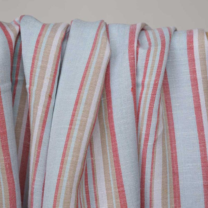 Tissu coton et lin rayé rouge, bleu ciel et beige - Pretty Mercerie - mercerie en ligne