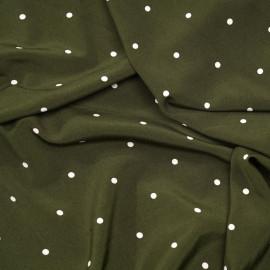 Tissu kaki à pois blanc cassé x 10 cm