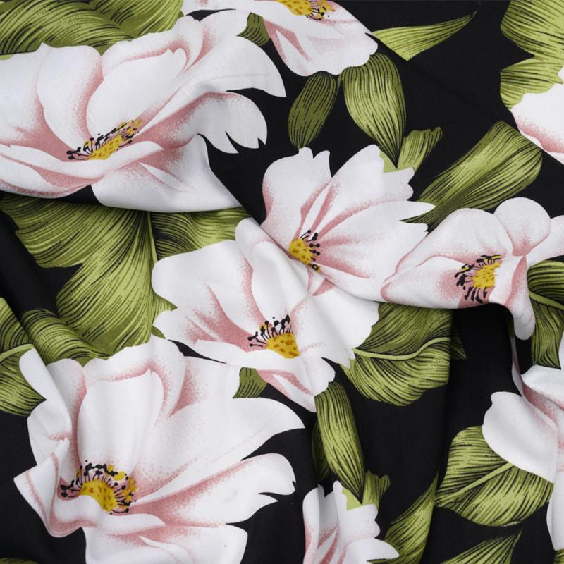 Tissu viscose noir à motif fleuri blanc, rose et vert - Pretty Mercerie - mercerie en ligne