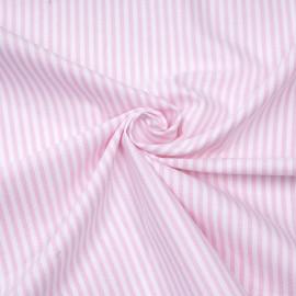 Tissu oxford blanc à rayures rose  x 10cm