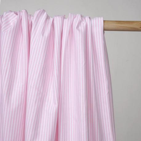 Tissu oxford blanc à rayures rose - Pretty Mercerie - mercerie en ligne