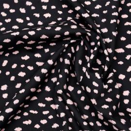 Tissu coton noir à motif léopard rose x 10cm