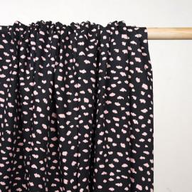 Tissu coton noir à motif léopard rose - Pretty Mercerie - mercerie en ligne