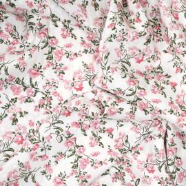 Tissu viscose blanc cassé à motif tissé fleurie rose et vert x 10 CM