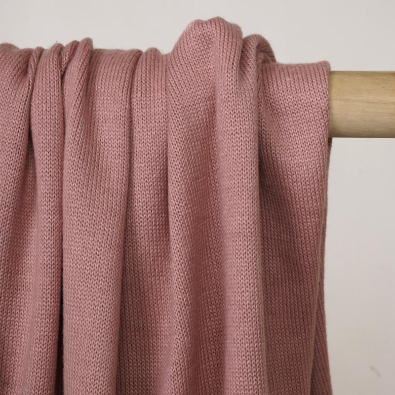Tissu coton maille point de jersey vieux rose - pretty mercerie - mercerie en ligne