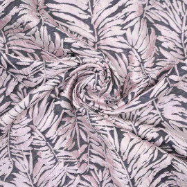 Tissu jacquard gris foncé à motif feuilles de palmier rose x 10 CM