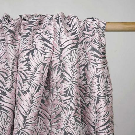 Tissu jacquard gris foncé à motif feuilles de palmier rose - Pretty Mercerie - mercerie en ligne