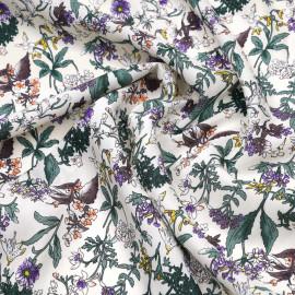 Tissu viscose blanc cassé à motif fleurs des champs vertes, violets et jaunes x 10 CM