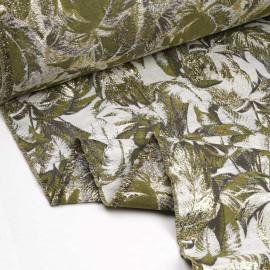 Tissu jacquard gris à motif feuilles de palmier vert et taupe, fil lurex or  x 10 CM