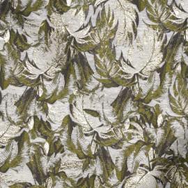 Tissu jacquard gris à motif feuilles de palmier vert et taupe, fil lurex or - Pretty Mercerie - mercerie en ligne