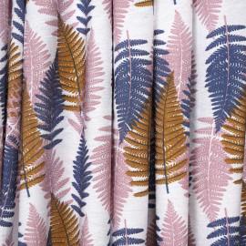 Tissu viscose blanc à motif fougères bleu, rose et camel - Pretty Mercerie - mercerie en ligne