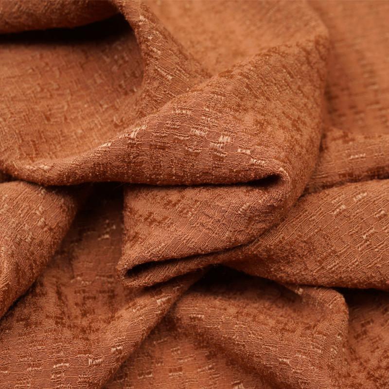 Tissu viscose adobe à motif tissé satiné et texturé - Pretty Mercerie - mercerie en ligne