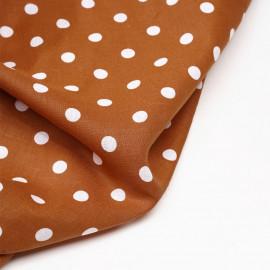 Tissu coton et lin burnt orange à pois blanc - Pretty Mercerie - mercerie en ligne