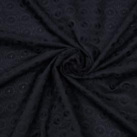 Tissu coton brodé bleu nuit à motif cercle x 10cm